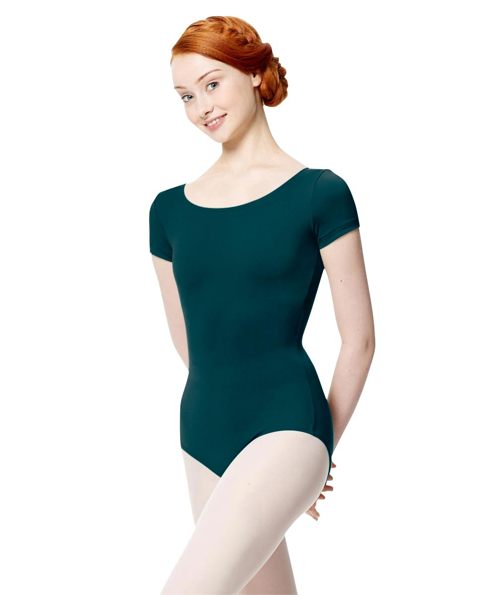 Women Microfiber Short Sleeve Leotard Abigail DTEAL