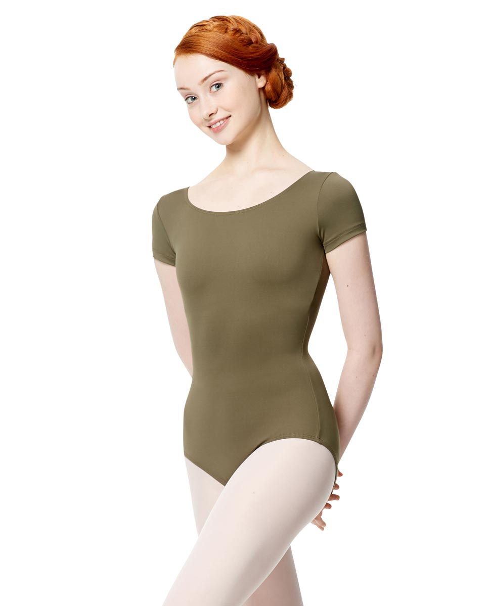 Women Microfiber Short Sleeve Leotard Abigail KHA