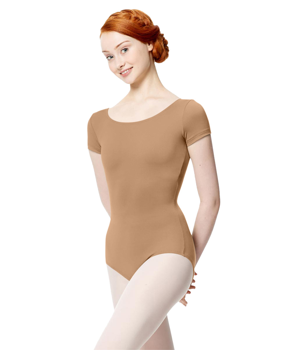 Women Microfiber Short Sleeve Leotard Abigail NUD