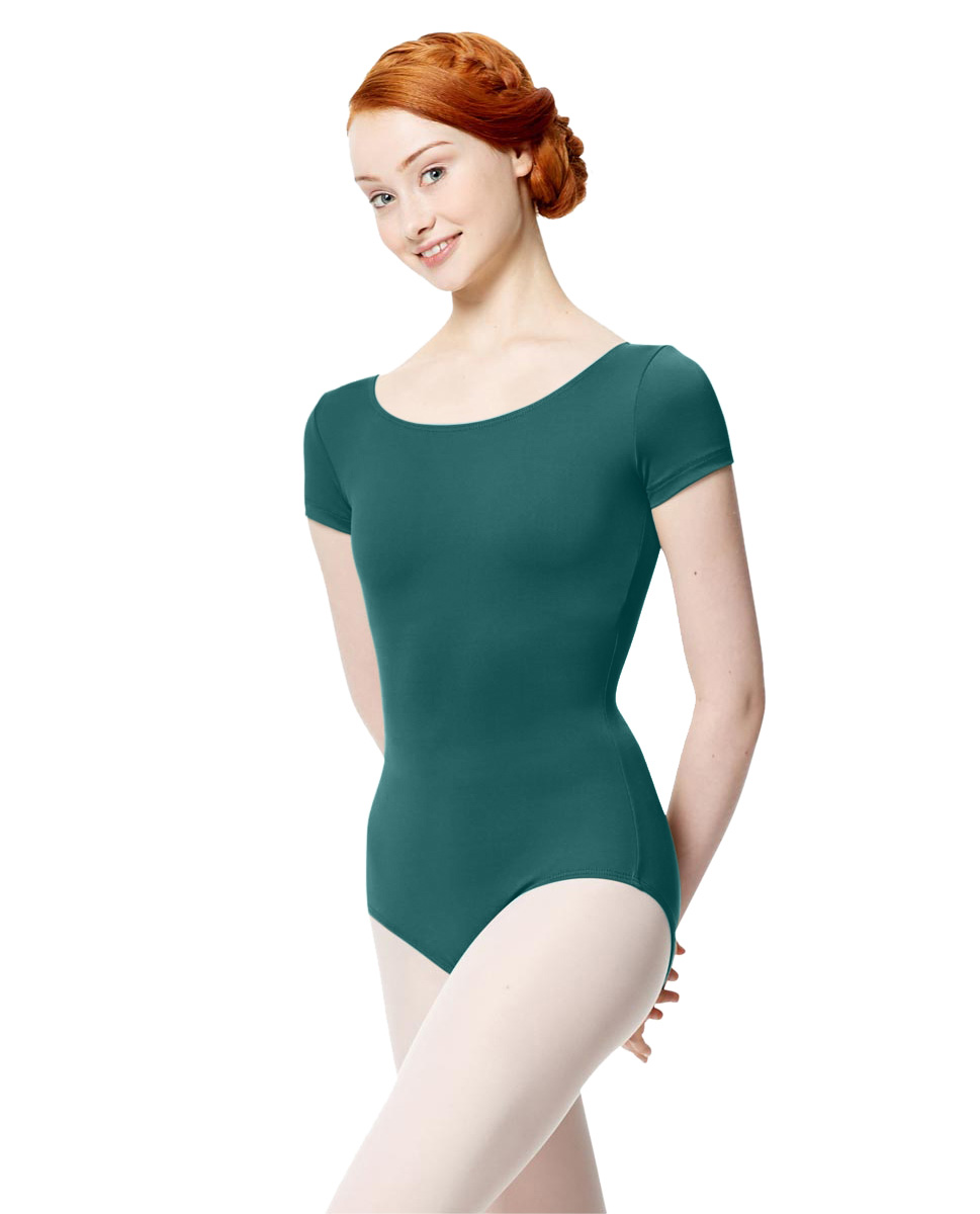 Women Microfiber Short Sleeve Leotard Abigail TEA