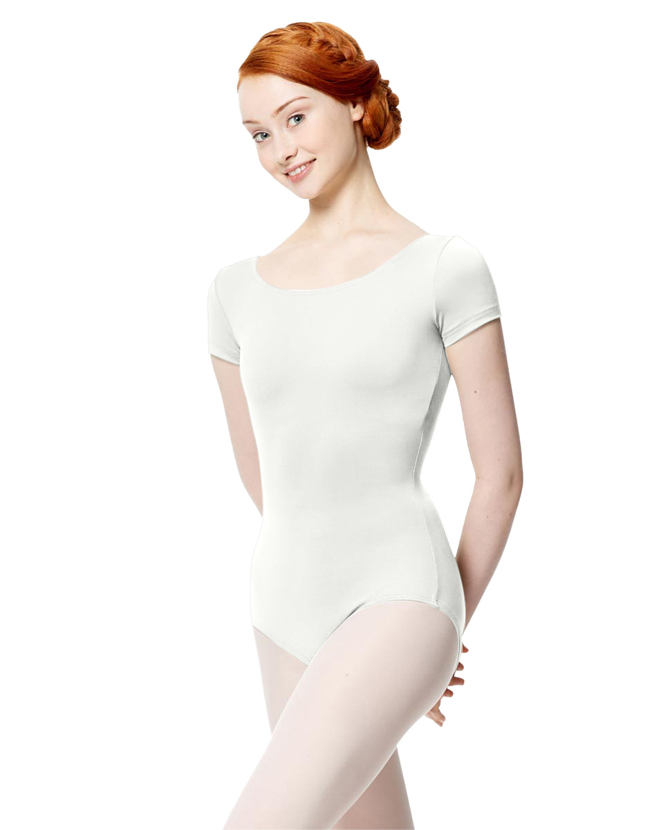Women Microfiber Short Sleeve Leotard Abigail WHI