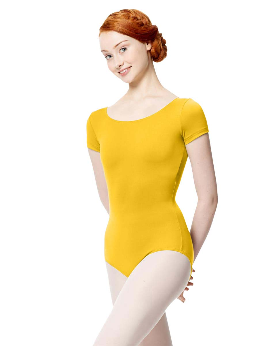 Women Microfiber Short Sleeve Leotard Abigail YEL