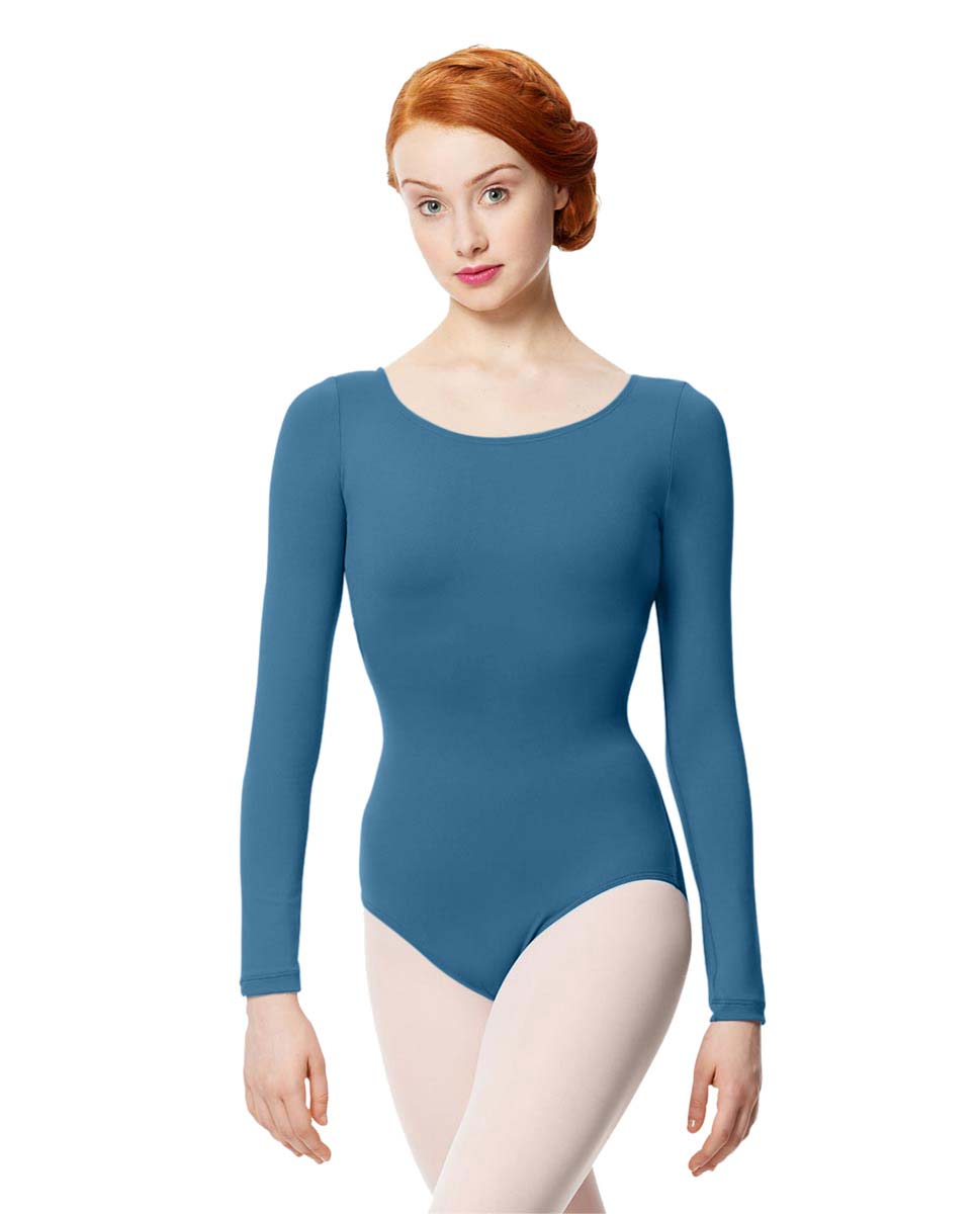 Women Microfiber Long Sleeve Leotard Inez BLUE