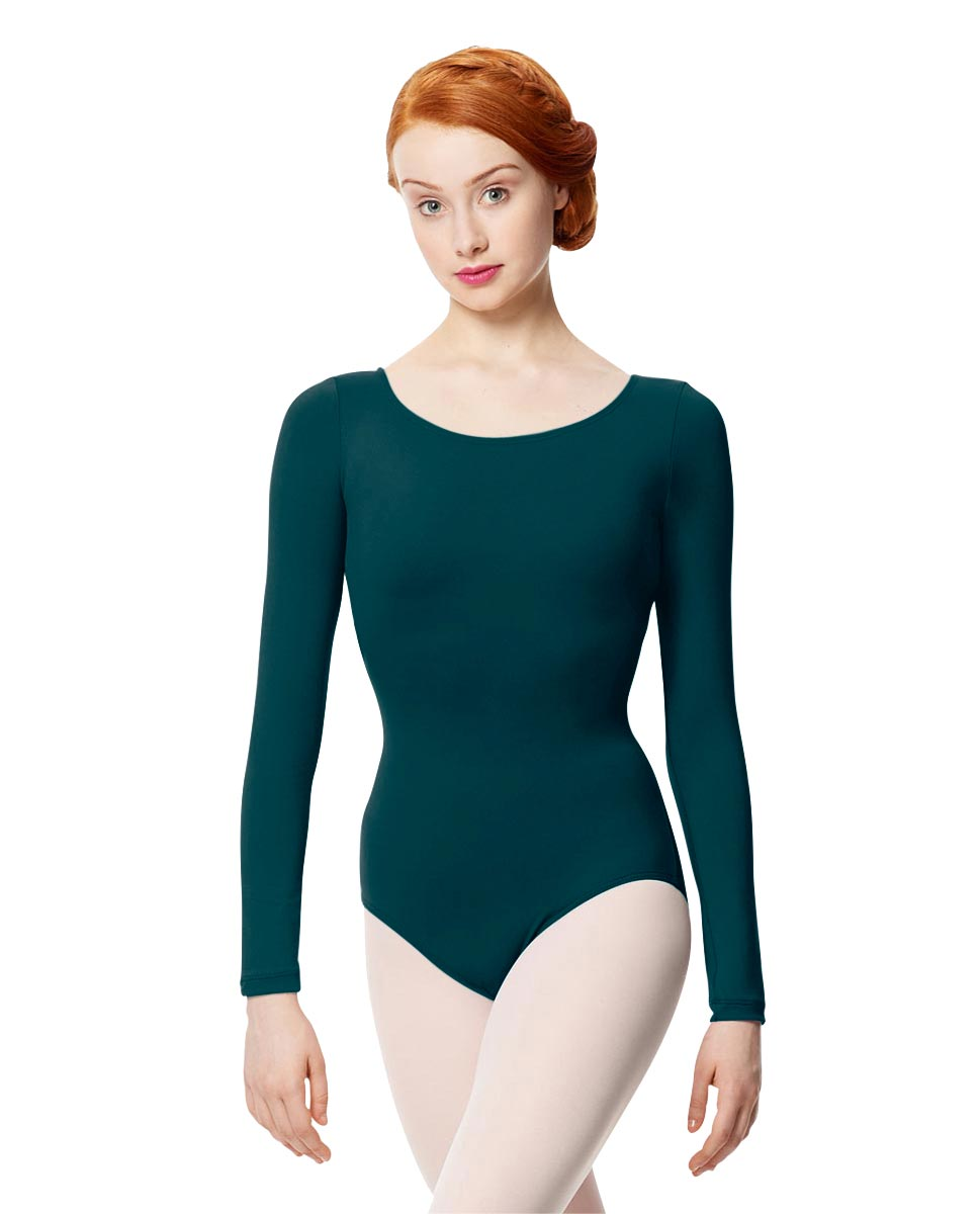 Women Microfiber Long Sleeve Leotard Inez DTEAL