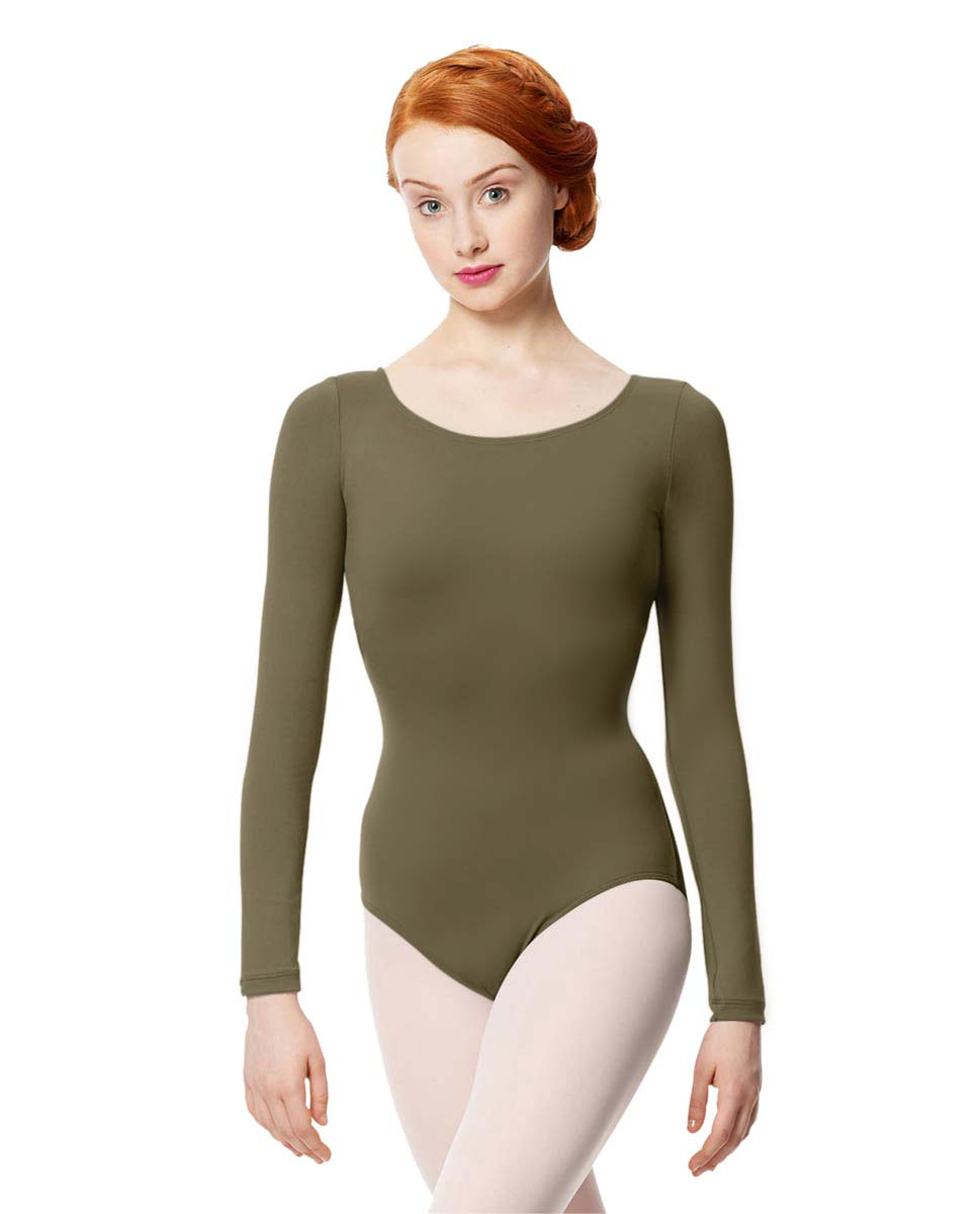Women Microfiber Long Sleeve Leotard Inez KHA