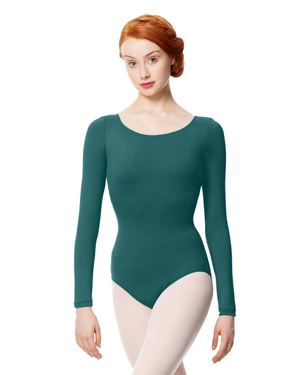 Women Microfiber Long Sleeve Leotard Inez TEA