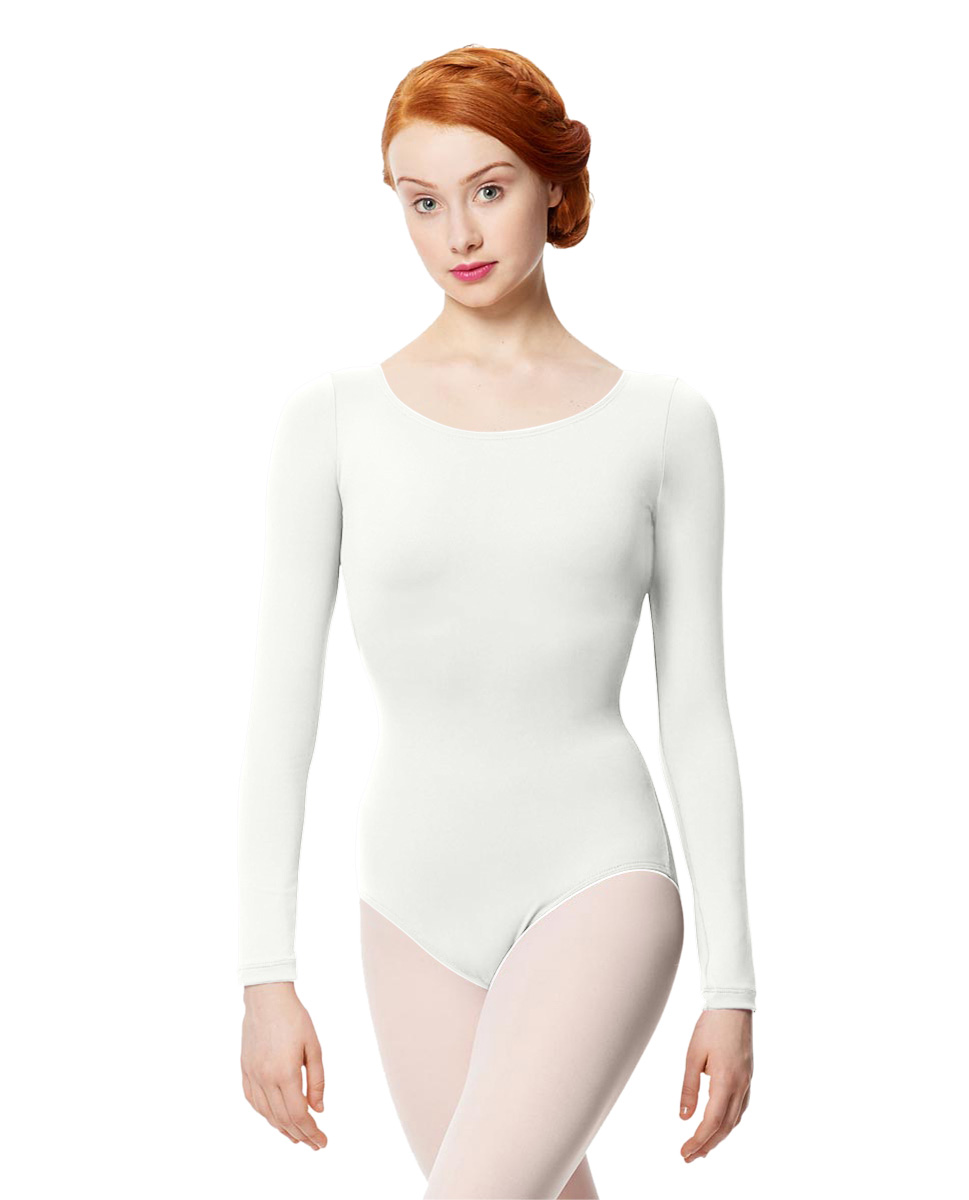 Women Microfiber Long Sleeve Leotard Inez WHI