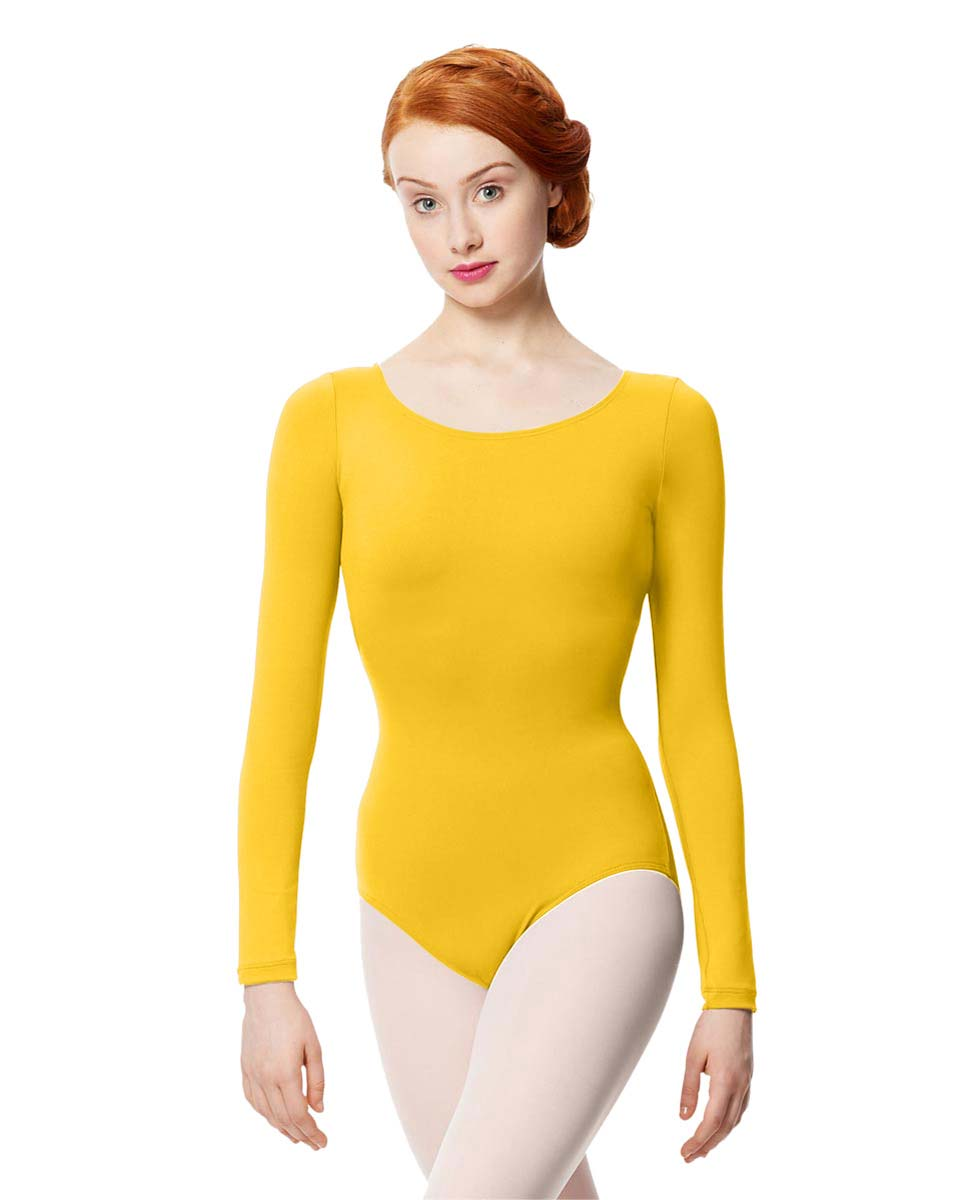 Women Microfiber Long Sleeve Leotard Inez YEL