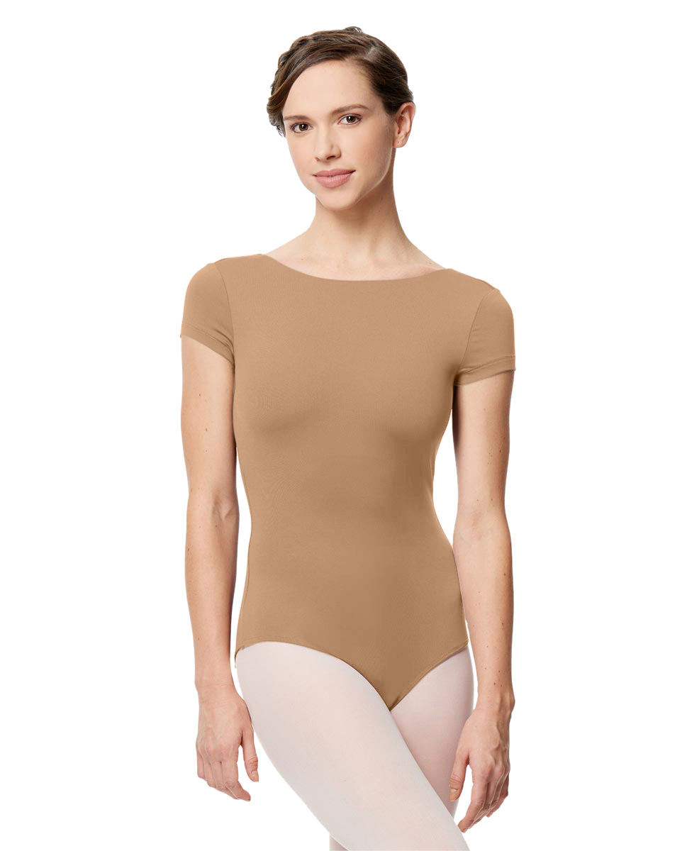 Women Microfiber Full Lining Short Sleeve Leotard Octavia NUD