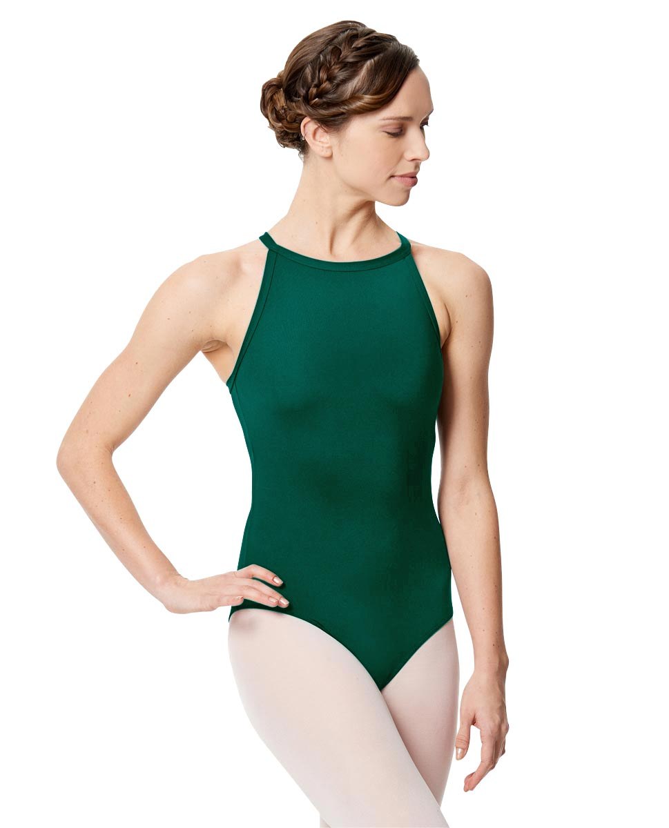 Women Microfiber Halter Neck Leotard Taliana DGREEN