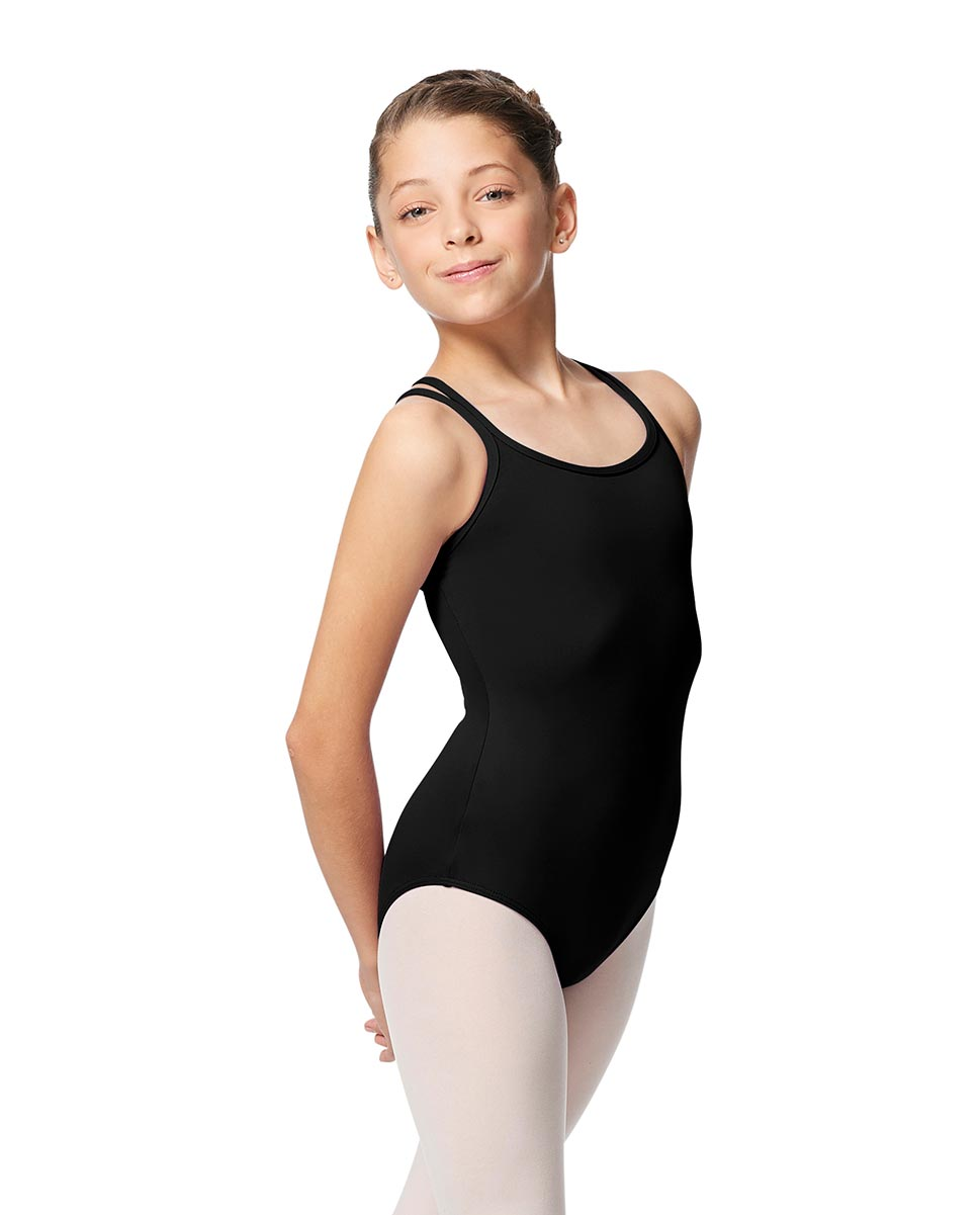 Girls Double Strap Tactel Camisole Dance Leotard Caitie BLK