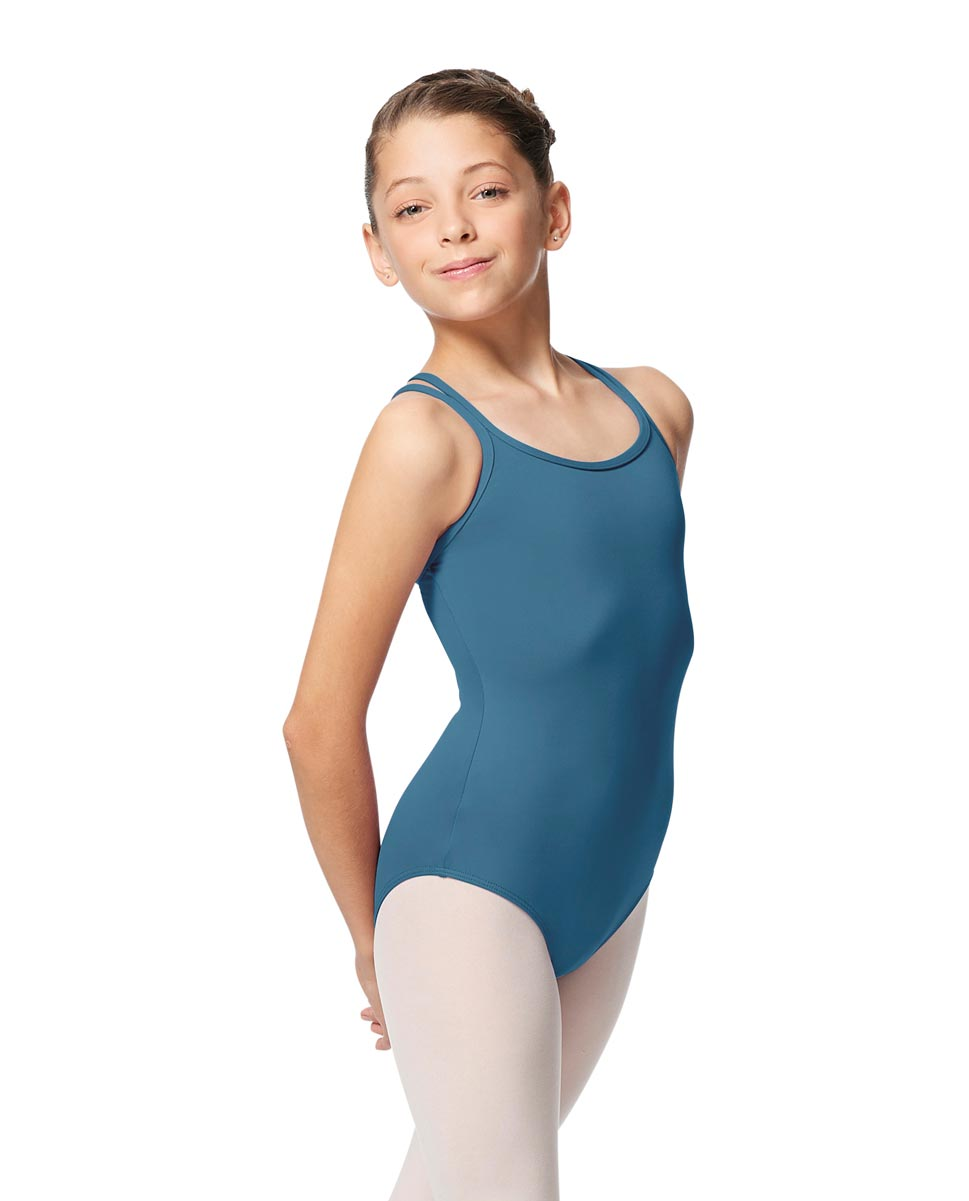 Girls Double Strap Tactel Camisole Dance Leotard Caitie BLUE