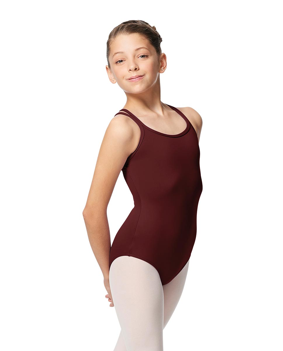 Girls Double Strap Tactel Camisole Dance Leotard Caitie BUR