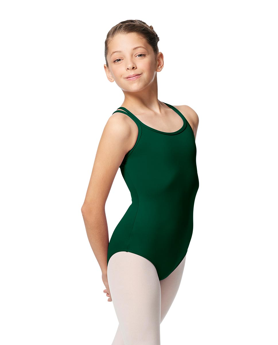 Girls Double Strap Tactel Camisole Dance Leotard Caitie DGREEN