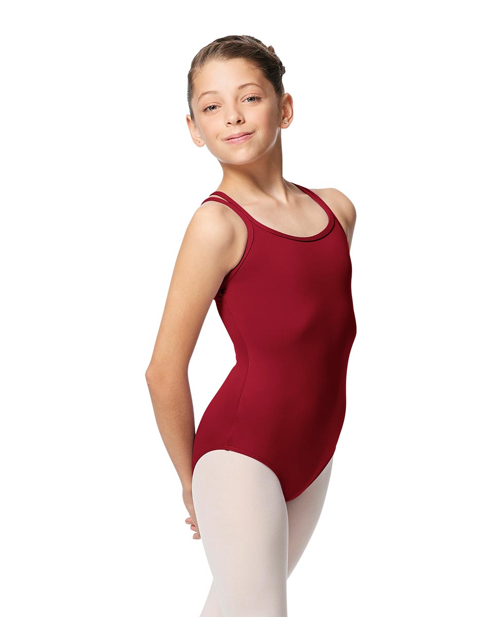 Girls Double Strap Tactel Camisole Dance Leotard Caitie DRED