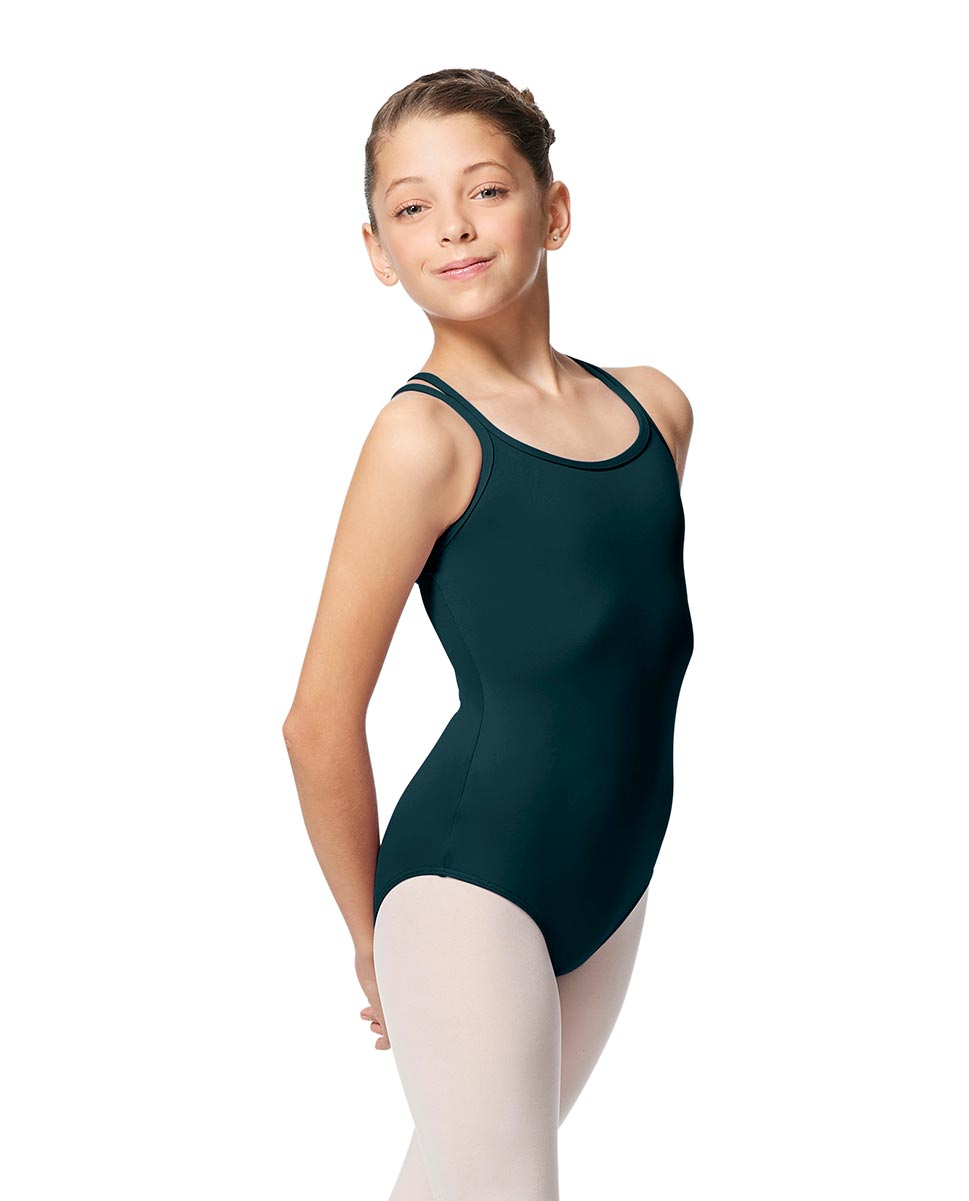 Girls Double Strap Tactel Camisole Dance Leotard Caitie DTEAL