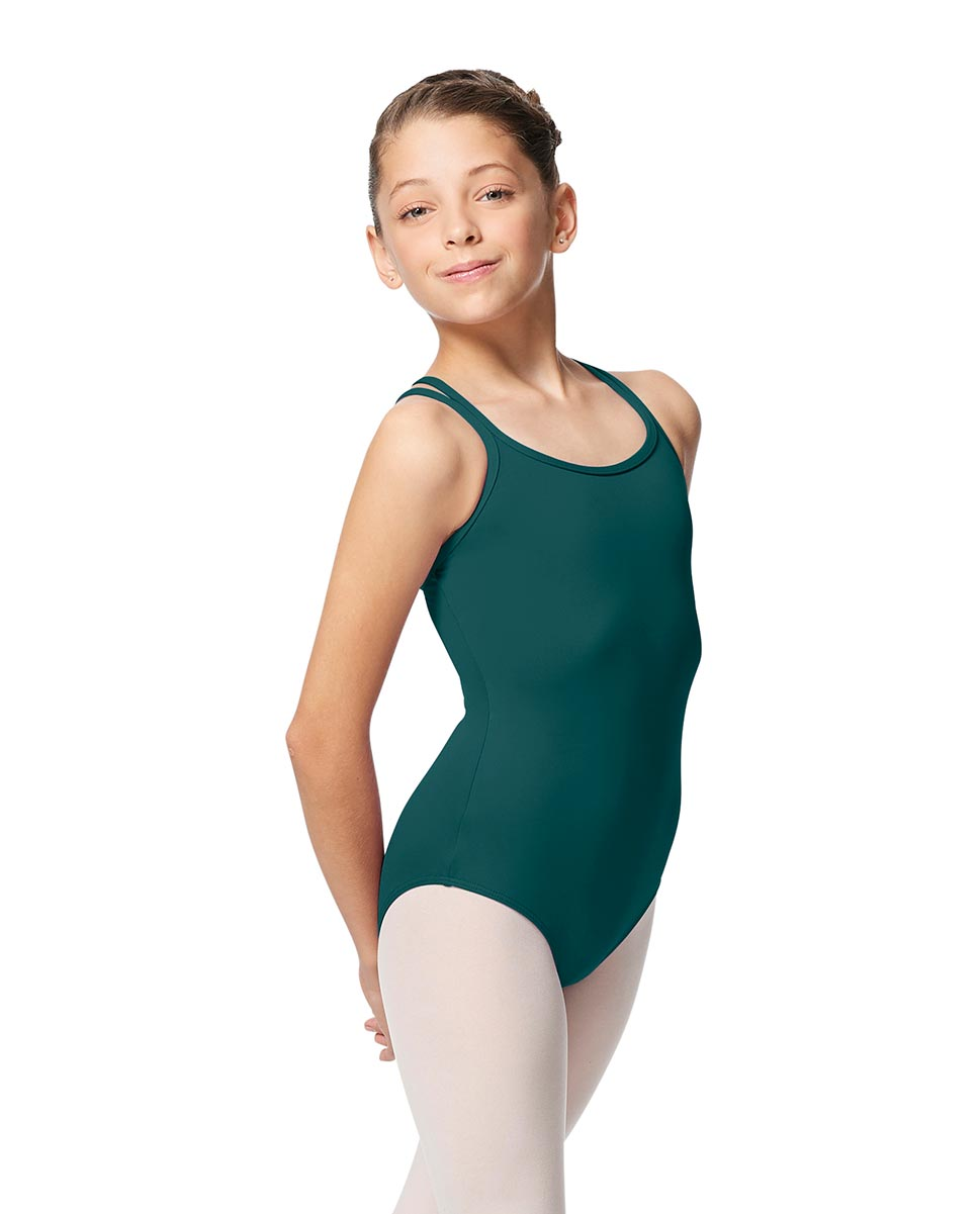 Girls Double Strap Tactel Camisole Dance Leotard Caitie TEA
