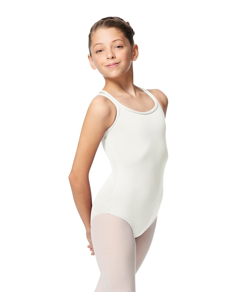 Girls Double Strap Tactel Camisole Dance Leotard Caitie WHI