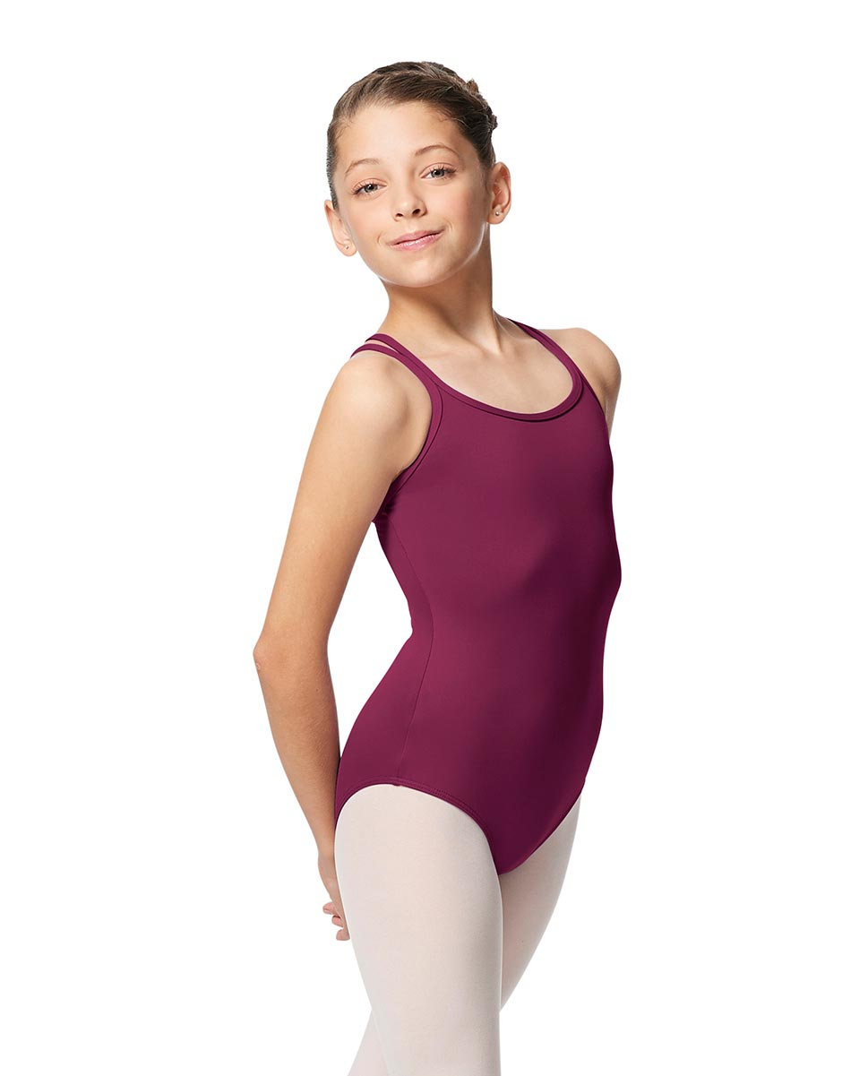 Girls Double Strap Tactel Camisole Dance Leotard Caitie WINE