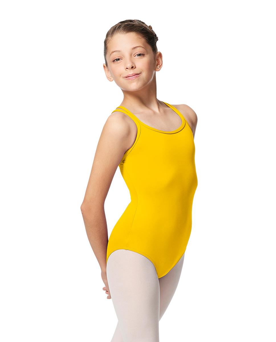 Girls Double Strap Tactel Camisole Dance Leotard Caitie YEL