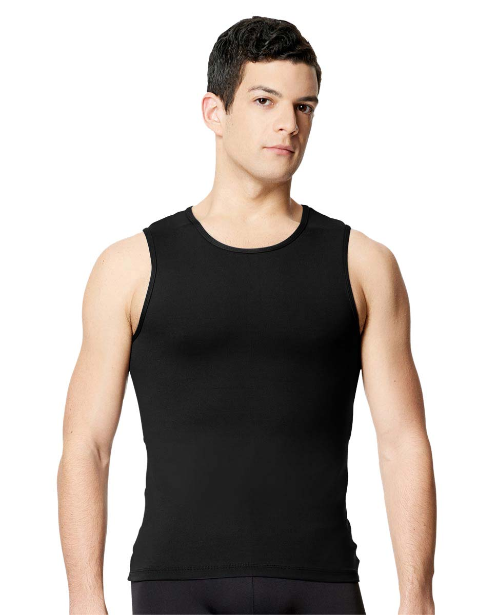 Mens Microfiber Tank Dance Top Leo BLK