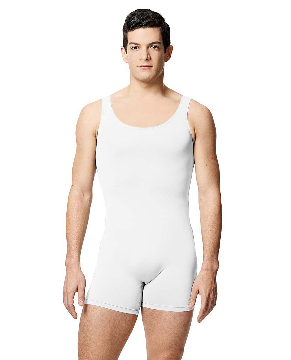 Mens Microfiber Tank Shorty Unitard Balzac WHI