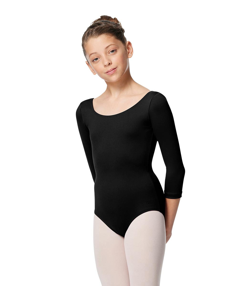 Girls V Back Long Sleeve Tactel Dance Leotard Veronika BLK