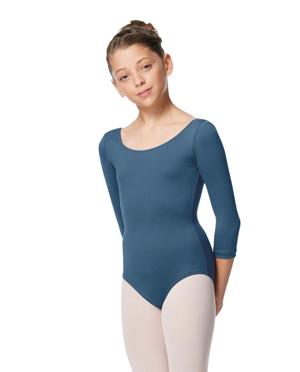 Girls V Back Long Sleeve Tactel Dance Leotard Veronika BLUE