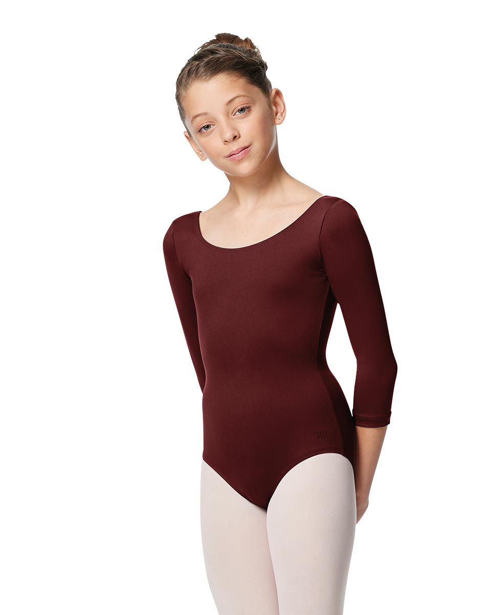 Girls V Back Long Sleeve Tactel Dance Leotard Veronika BUR