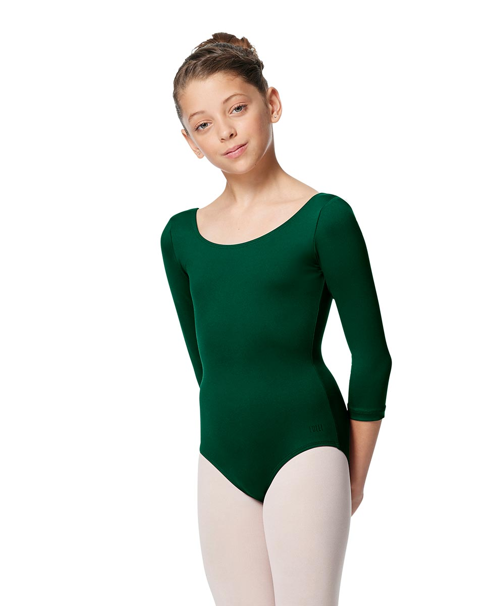 Girls V Back Long Sleeve Tactel Dance Leotard Veronika DGREEN