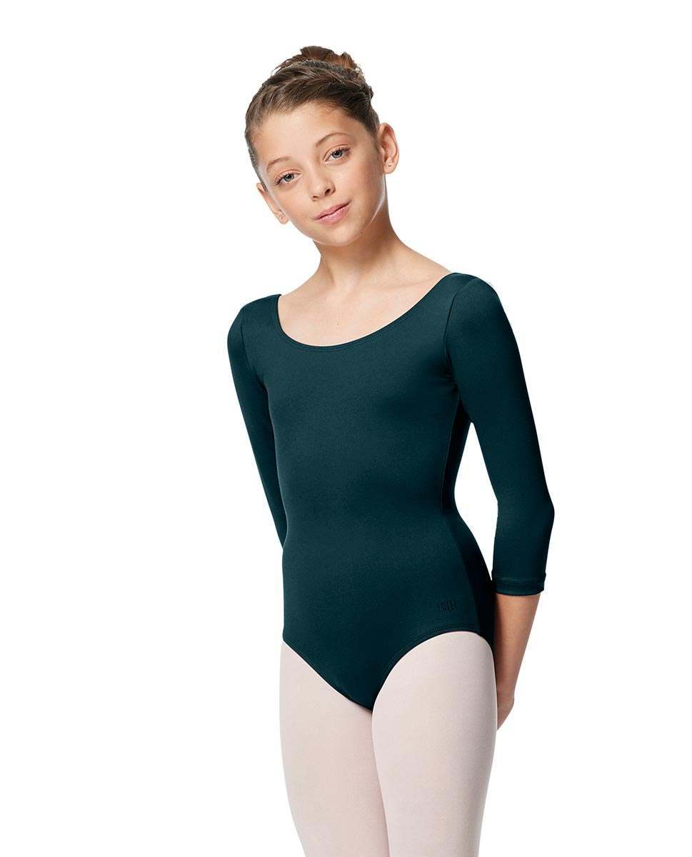 Girls V Back Long Sleeve Tactel Dance Leotard Veronika DTEAL