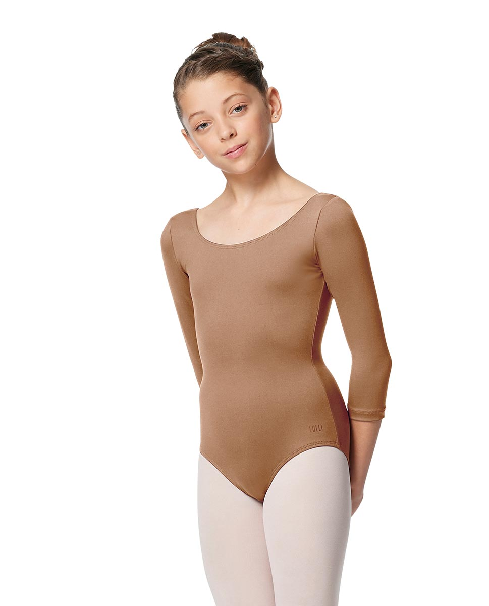 Girls V Back Long Sleeve Tactel Dance Leotard Veronika NUD