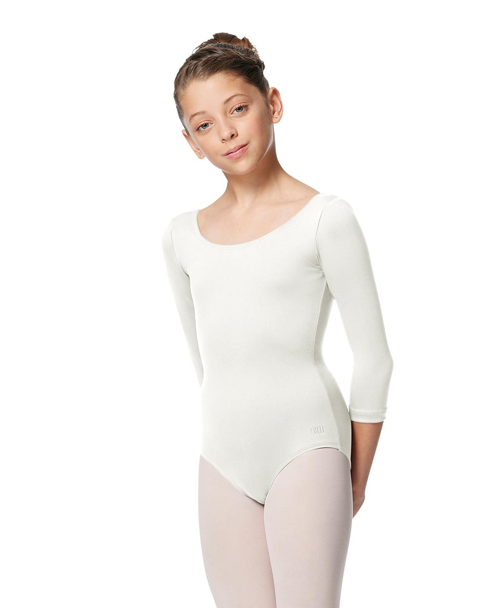 Girls V Back Long Sleeve Tactel Dance Leotard Veronika WHI