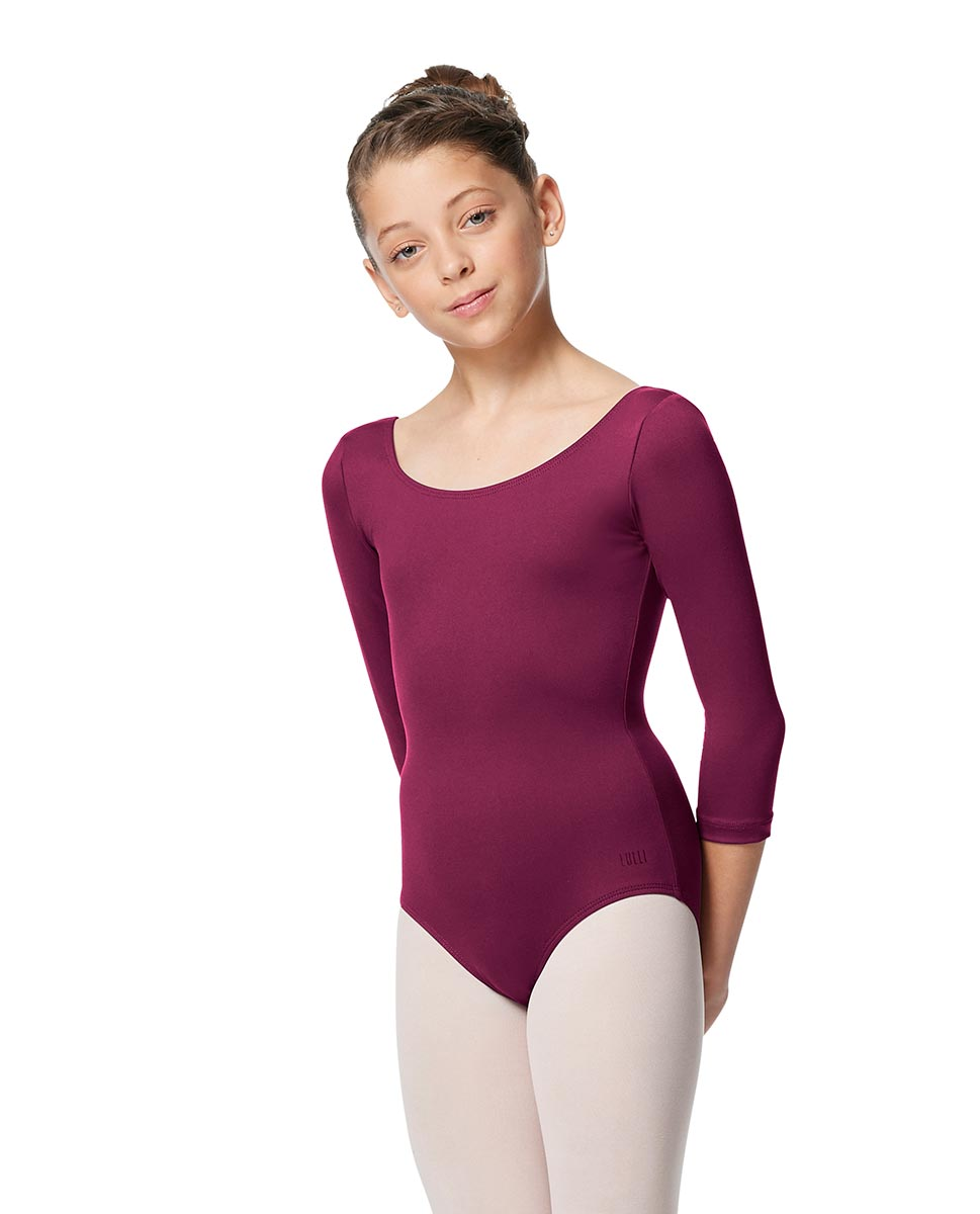 Girls V Back Long Sleeve Tactel Dance Leotard Veronika WINE