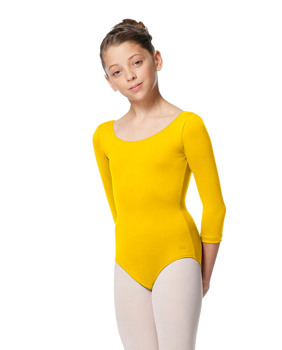 Girls V Back Long Sleeve Tactel Dance Leotard Veronika YEL