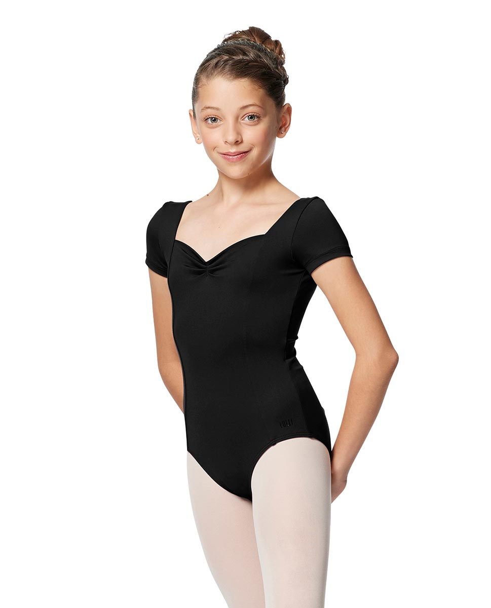 Girls Cup Sleeve Tactel Ballet Leotard Anfisa BLK
