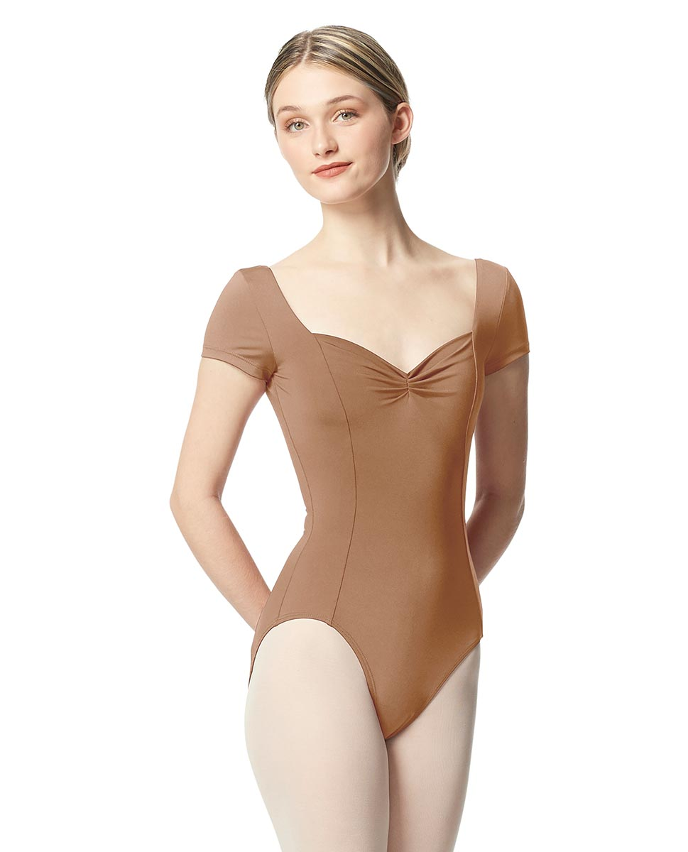 Women Short Sleeve Tactel Dance Leotard Anfisa NUD