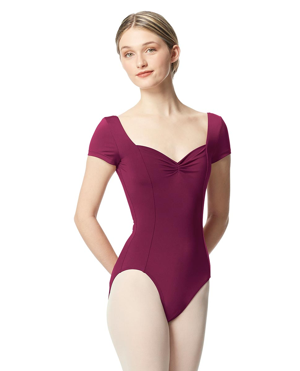 Women Short Sleeve Tactel Dance Leotard Anfisa WINE