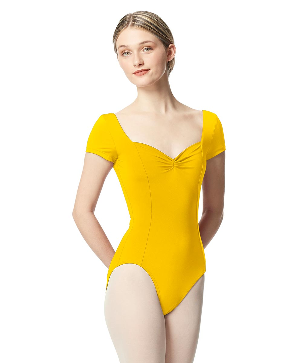 Women Short Sleeve Tactel Dance Leotard Anfisa YEL