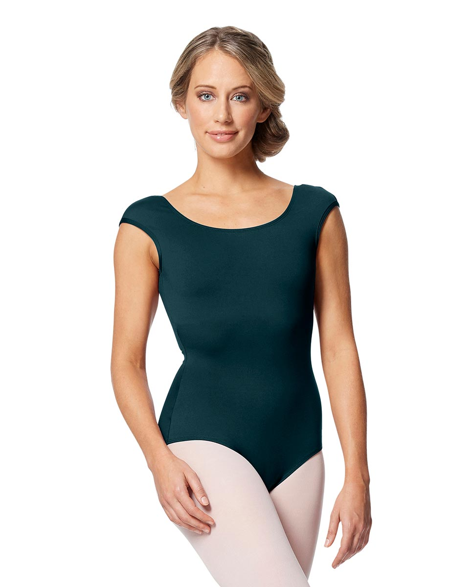 Women cap Sleeve V Back Dance Leotard Indigo DTEAL