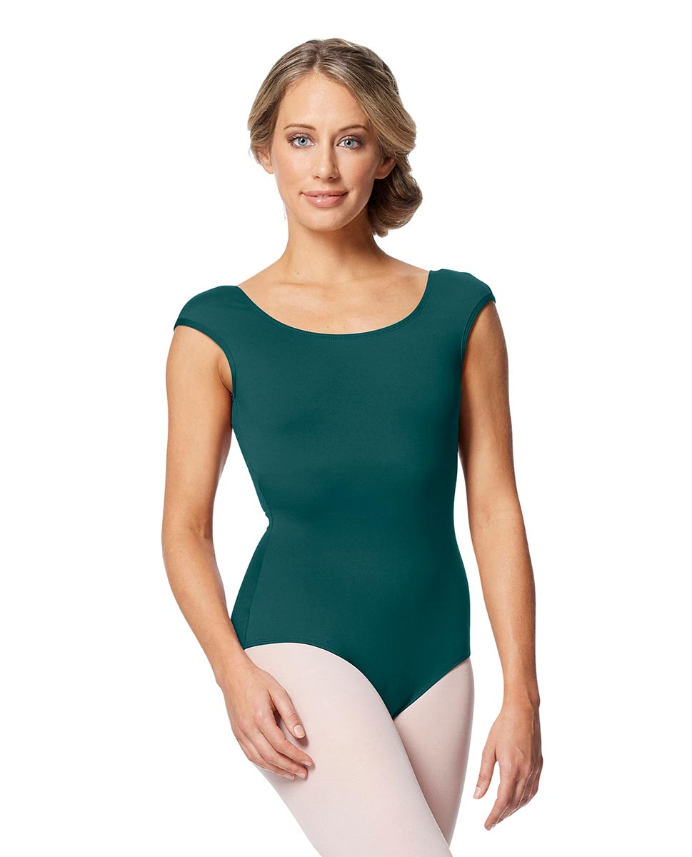 Women cap Sleeve V Back Dance Leotard Indigo TEA