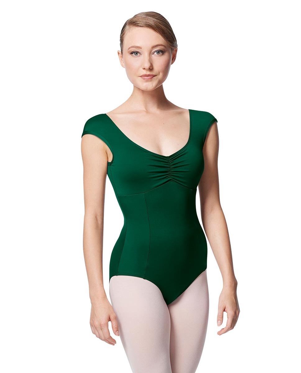 Princess Seam Cap Sleeve Leotard Cinnamon With Bra Pockets DGREEN