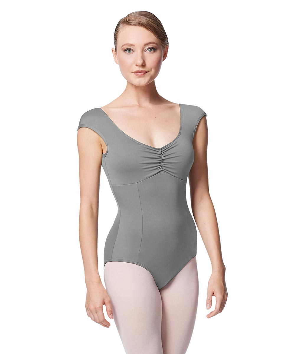 Princess Seam Cap Sleeve Leotard Cinnamon With Bra Pockets GRE