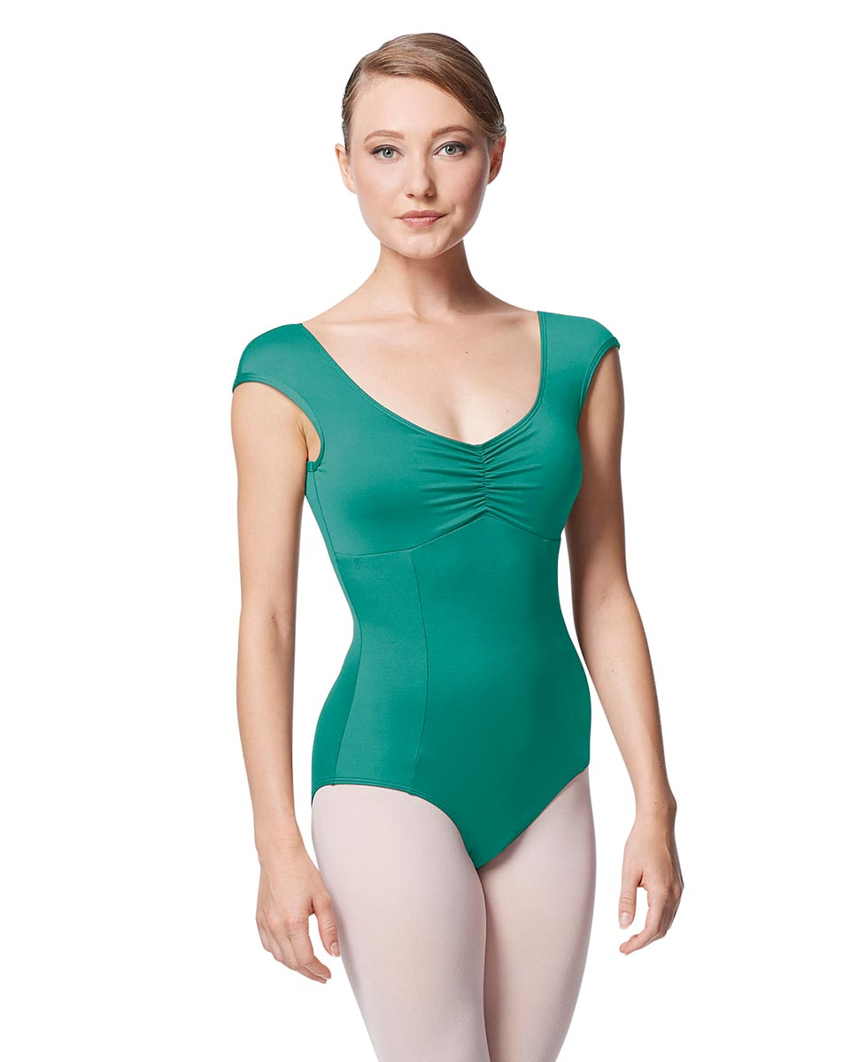 Princess Seam Cap Sleeve Leotard Cinnamon With Bra Pockets JAD