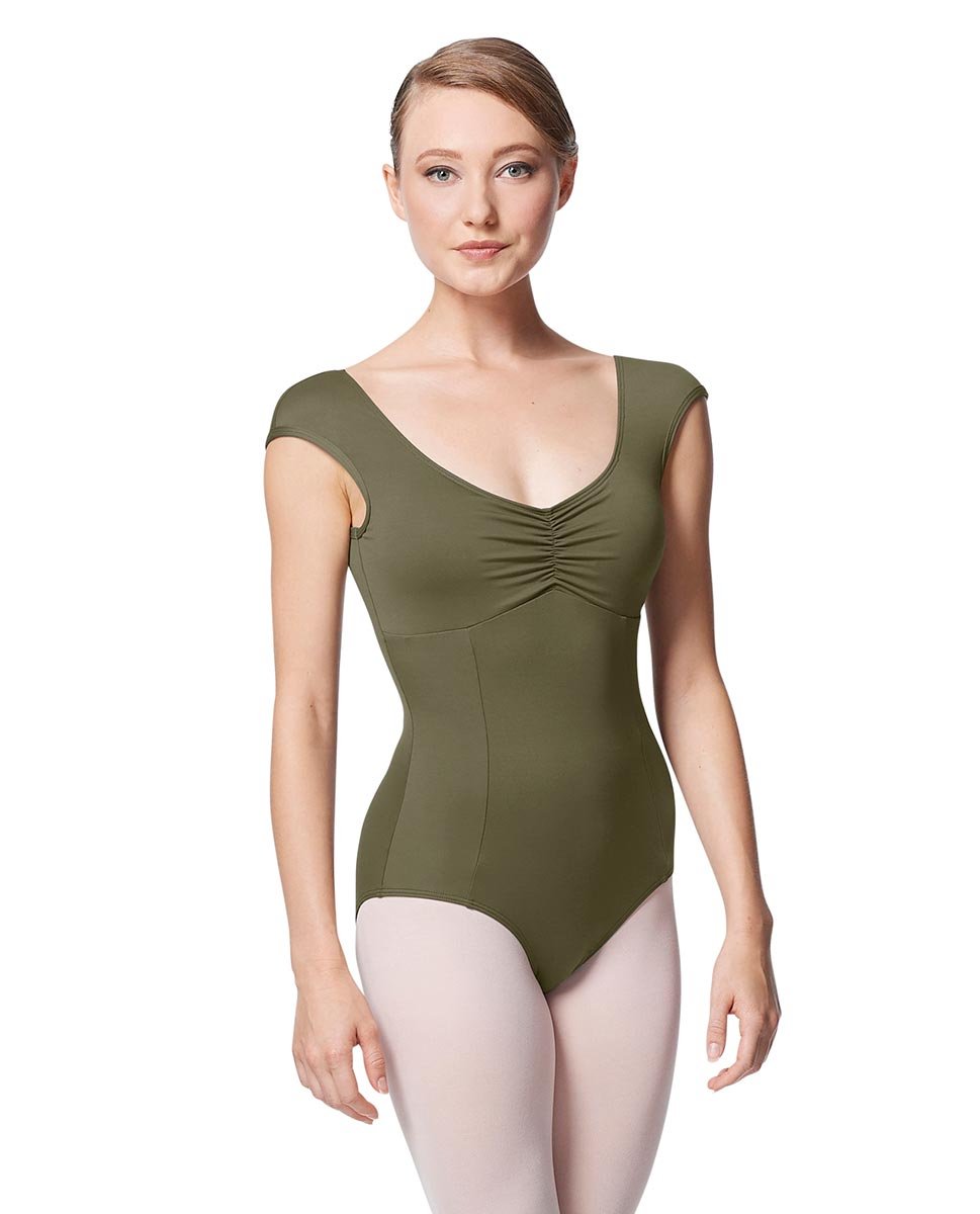 Princess Seam Cap Sleeve Leotard Cinnamon With Bra Pockets KHA