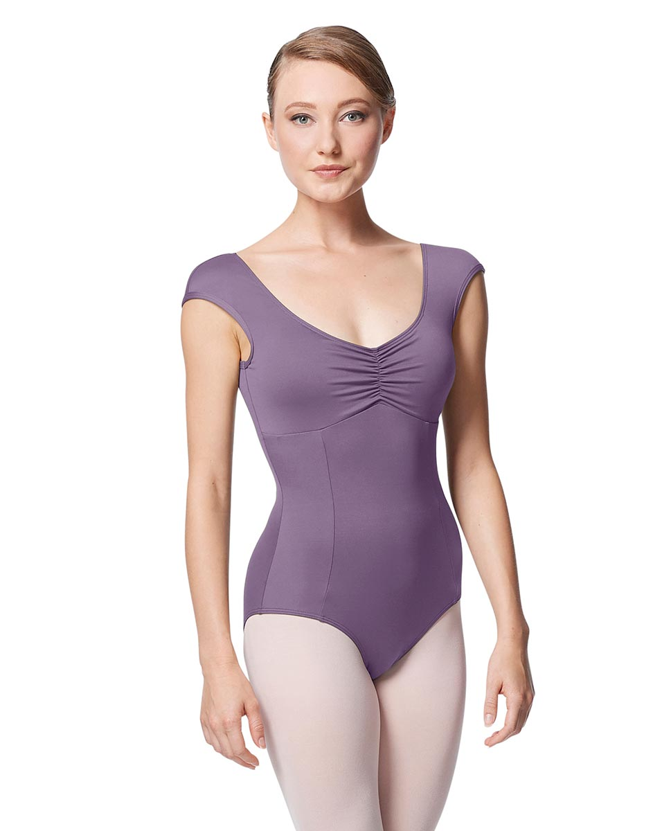 Princess Seam Cap Sleeve Leotard Cinnamon With Bra Pockets LAV
