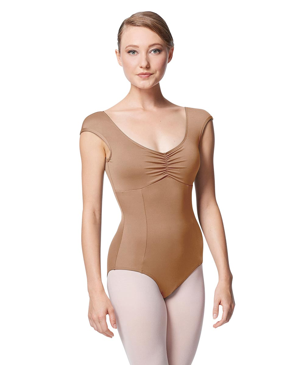 Princess Seam Cap Sleeve Leotard Cinnamon With Bra Pockets NUD