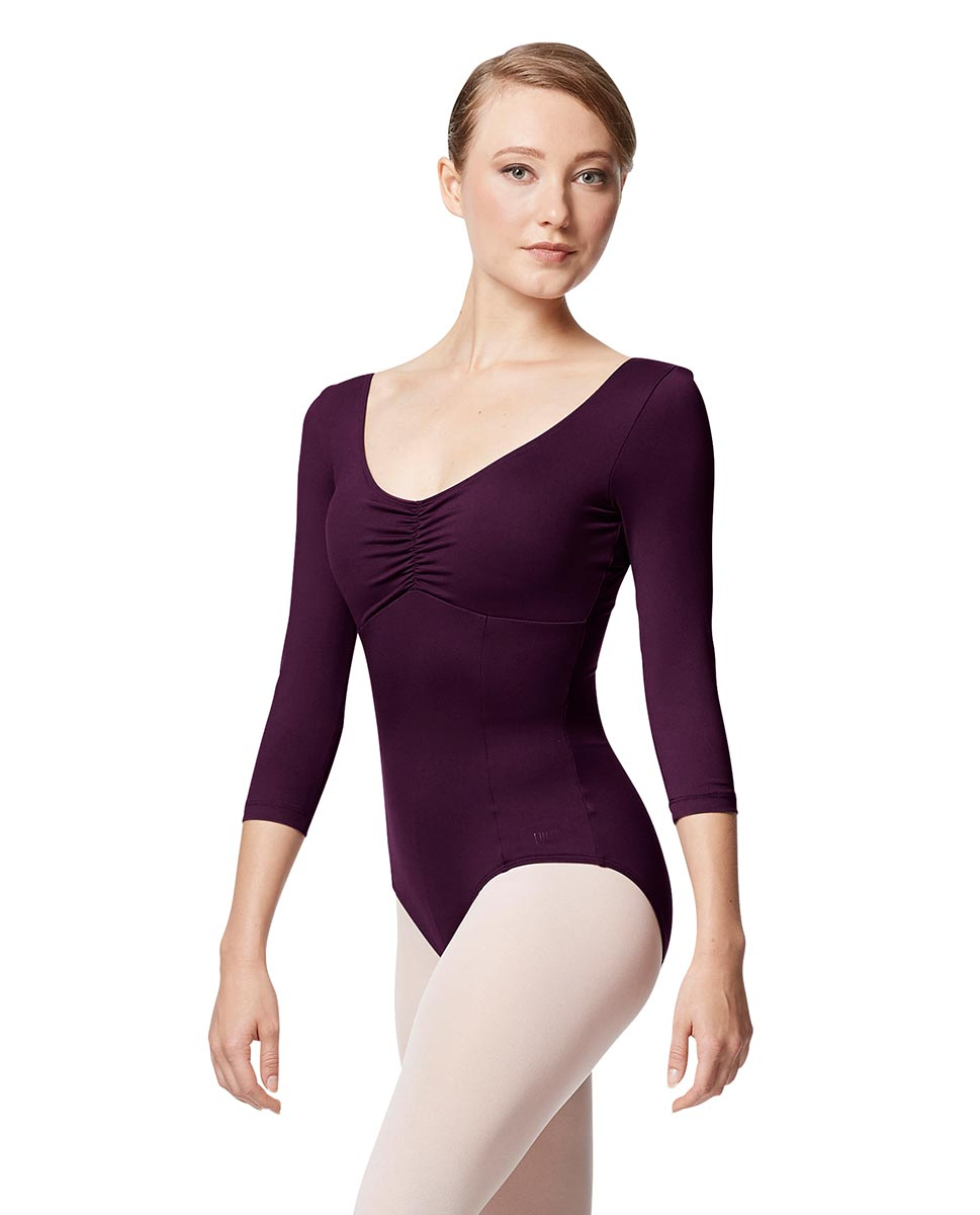 Pinch Front Long Sleeve with Bra Pockets Dance Leotard Camellia AUB