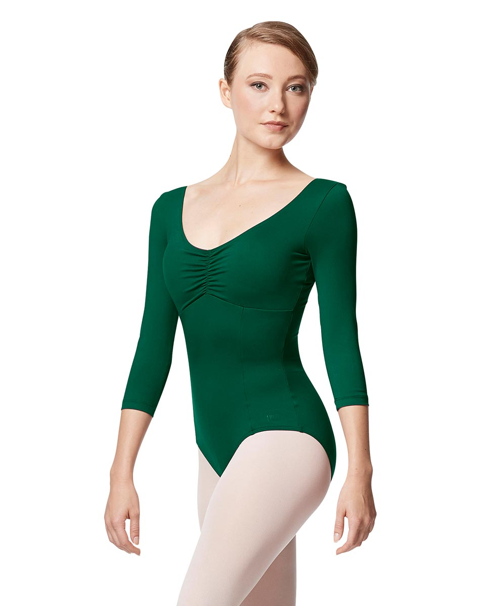 Pinch Front Long Sleeve with Bra Pockets Dance Leotard Camellia DGREEN