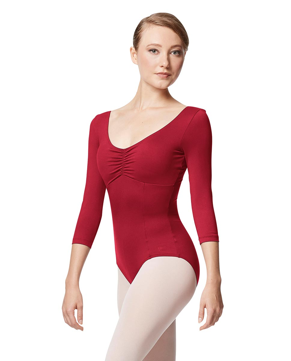 Pinch Front Long Sleeve with Bra Pockets Dance Leotard Camellia DRED